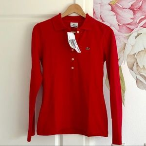 Lacoste Basic Red Polo Longsleeve w/ Collar
